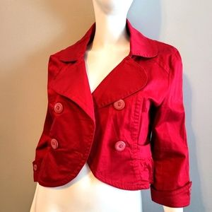 Last Kiss Red Double Breasted Crop Jacket Large